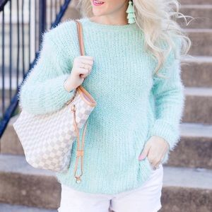 Sweaters - Teal Eyelash Sweater